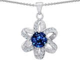 Original Star K Round Created Sapphire Flower Pendant