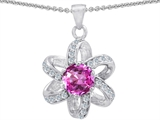 Original Star K Round Created Pink Sapphire Flower Pendant
