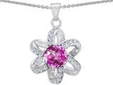 Original Star K™ Round Created Pink Sapphire Flower Pendant style: 302895