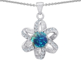 Original Star K Round Created Blue Opal Flower Pendant