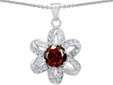 Original Star K Round Genuine Garnet Flower Pendant