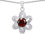 Original Star K™ Round Genuine Garnet Flower Pendant style: 302901