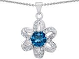 Original Star K Round Genuine Blue Topaz Flower Pendant