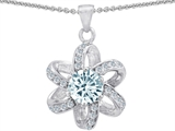 Original Star K Round Genuine Aquamarine Flower Pendant