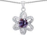 Original Star K Round Simulated Alexandrite Flower Pendant
