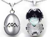 Original Star K™ Egg Pendant with October Birthstone Simulated Heart Opal Surprise Inside