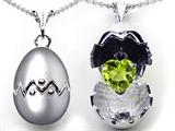 Original Star K Egg Pendant with August Birthstone Genuine Heart Peridot Surprise Inside