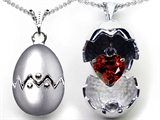 Original Star K Egg Pendant with January Birthstone Genuine Heart Garnet Surprise Inside