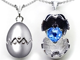 Original Star K Egg Pendant with December Birthstone Genuine Heart Blue Topaz Surprise Inside
