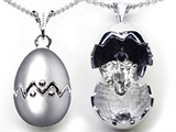Original Star K™ Egg Pendant with Heart Shape Genuine White Topaz Surprise Inside