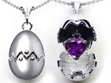 Original Star K Egg Pendant with February Birthstone Genuine Heart Amethyst Surprise Inside