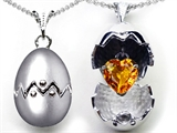 Original Star K™ Egg Pendant with November Birthstone Genuine Heart Citrine Surprise Inside