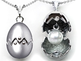 Original Star K™ Egg Pendant with June Birthstone Simulated Pearl Surprise Inside