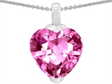 Original Star K™ 10mm Heart Shape Created Pink Sapphire Pendant