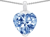 Original Star K 10mm Heart Shaped Simulated Aquamarine Pendant