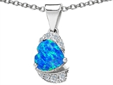 Original Star K Heart Shaped Created Blue Opal And Cubic Zirconia Pendant