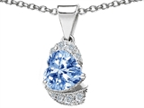 Original Star K™ Heart Shaped Simulated Aquamarine Pendant style: 302933