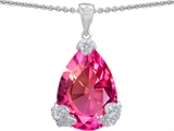 Original Star K™ Large 11x17 Pear Shape Created Pink Sapphire Designer Pendant style: 302934