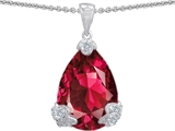 Original Star K Large 11x17 Pear Shape Created Ruby Designer Pendant
