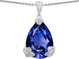 Original Star K Large 17x11 Pear Shape Created Sapphire Designer Pendant