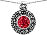 Original Star K™ Bali Style Round 7mm Lab Created Ruby Pendant
