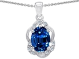 Tommaso Design™ Oval Genuine Sapphire and Diamond Pendant