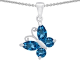 Original Star K Butterfly Pendant Made with Genuine Blue Topaz