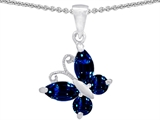 Original Star K Butterfly Pendant Made with Lab Created Sapphire