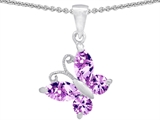 14k White Gold Plated 925 Silver Butterfly 1 inch Pendant Made with Created Rose De France Amethyst