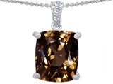 Original Star K Large 12x10mm Cushion Cut Genuine Smoky Quartz Pendant