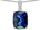 Original Star K Large 12x10mm Cushion Cut Created Dark Blue Sapphire Pendant