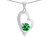 Original Star K™ Round Simulated Emerald Heart Pendant