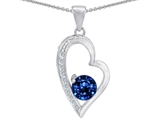 Original Star K Round Created Sapphire Heart Pendant