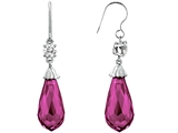 Original Star K Briolette Drop Cut Created Pink Sapphire Hanging Hook Chandelier Earrings
