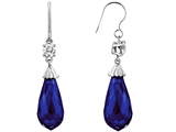 Original Star K Briolette Drop Cut Created Sapphire Hanging Hook Chandelier Earrings
