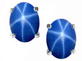 Tommaso Design™ Genuine Created Star Sapphire Earring Studs