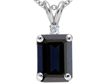 Original Star K Genuine Emerald Cut Sapphire and Diamond Pendant