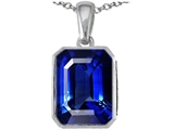 Original Star K Emerald Cut 10x8mm Created Sapphire Pendant