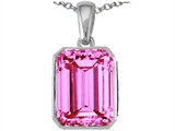 Original Star K Emerald Cut 10x8mm Lab Created Pink Sapphire Pendant