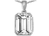Original Star K Emerald Cut Genuine White Topaz Pendant