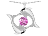 Original Star K Round 6mm Created Pink Sapphire Dolphin Pendant