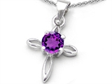 Original Star K Round Genuine Amethyst Cross Pendant