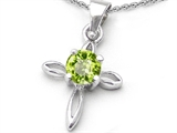 Original Star K Round Genuine Peridot Cross Pendant