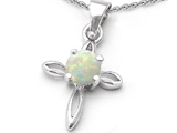 Original Star K Round Created Opal Cross Pendant
