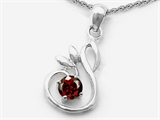 Original Star K Round Genuine Garnet Swan Pendant