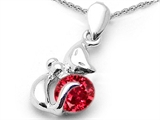Star K™ Round 6mm Created Ruby Cat Pendant Necklace style: 303036