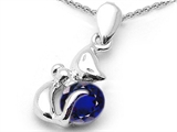 Star K™ Round 6mm Created Sapphire Cat Pendant Necklace style: 303040
