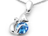 Original Star K™ Round 6mm Genuine Blue Topaz Cat Pendant