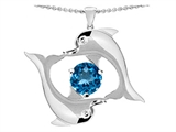 Original Star K™ Round Genuine 6mm Blue Topaz Dolphin Pendant