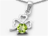 Celtic Love by Kelly Round Genuine Peridot Lucky Clover Pendant